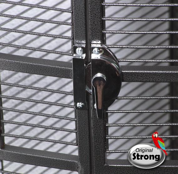 Papegaaienkooi Nadia XL grijs deurslot