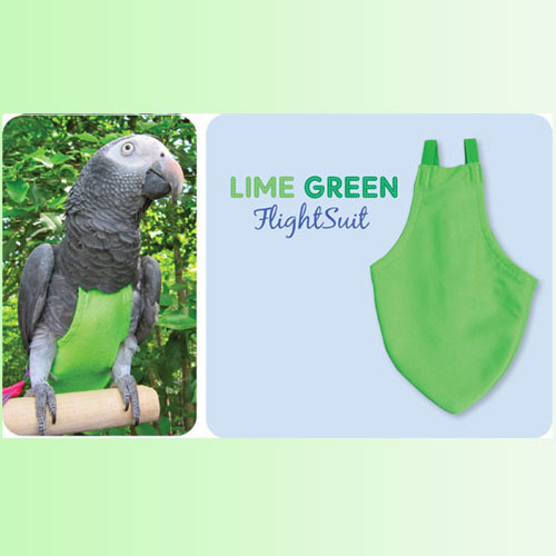 Flightsuit papegaaienluier Large Groen   Met handige klittenbandsluiting