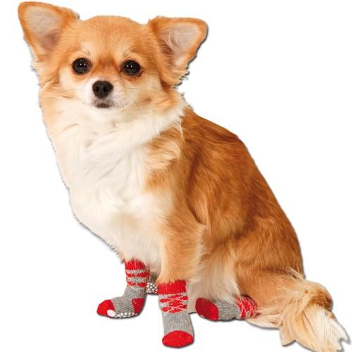 Hondensokjes rood met anti slip voor binnenshuis