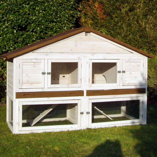 Konijnenhok Chalet XL wit/bruin - Met roodbitumen dakbekleding