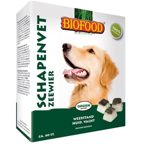 Hondensnacks   Biofood Schapenvet bonbons zeewier 250gram