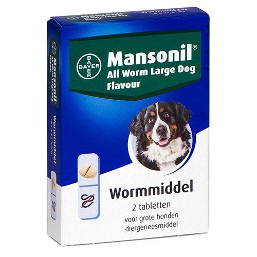 Mansonil All Worm grote hond 2 tabletten