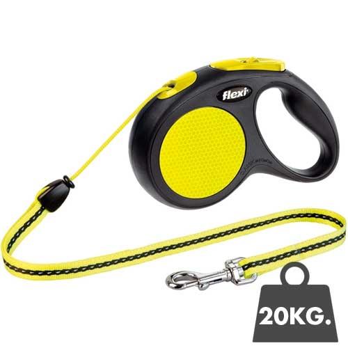 Flexi Rollijn New Neon - Honden tot 20kg.  - 5meter koord