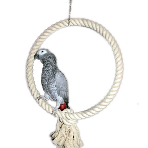 Papegaaienspeelgoed Speelring Touw XL naturel