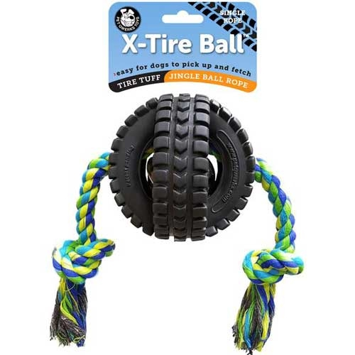 Pet Qwerks Jingle X-Tire Ball with Rope Medium 8cm.